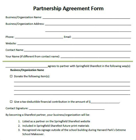 8 Sle Partnership Agreements Sle Templates Free Partnership Agreement Template