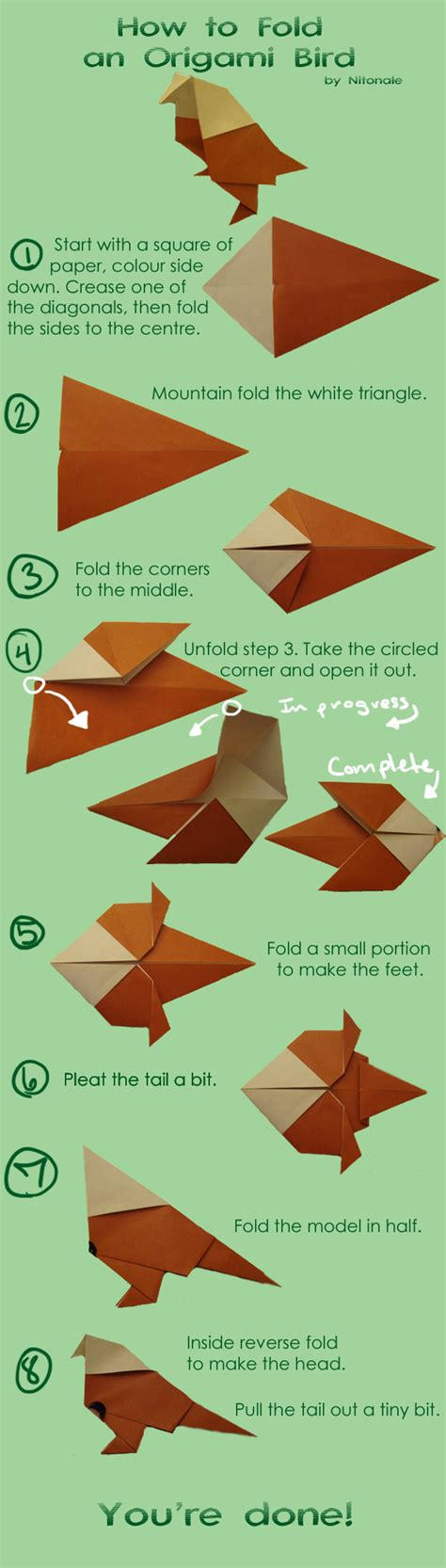 How To Make Bird With Origami - how to make an origami bird by nitonale on deviantart