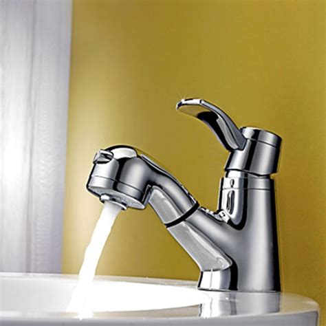 contemporary chrome finish pull out bathroom faucet