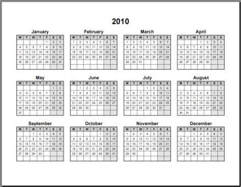 2010 calendar template 2010 calendar printable one page calendar template 2016