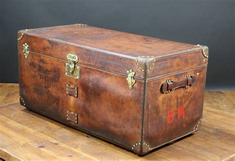 french leather trunk  goyard   sale  pamono