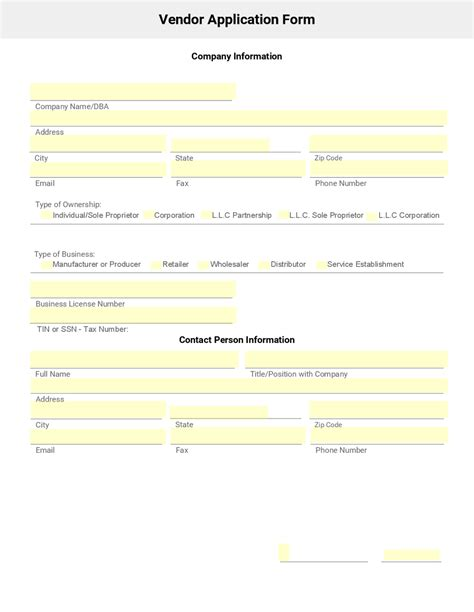 vendor setup form template business form template gallery