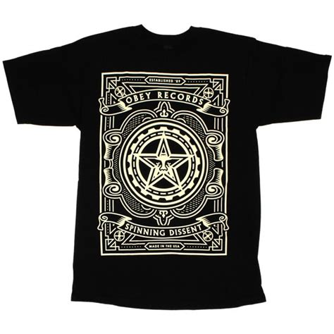 Tees T Shirt Kaos Obey t shirt obey basic tees spinning dissent black temple of deejays