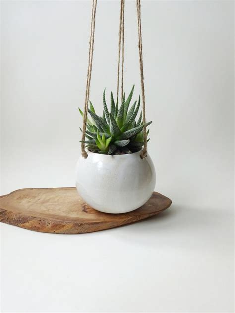 white hanging planter hanging pot  small plants