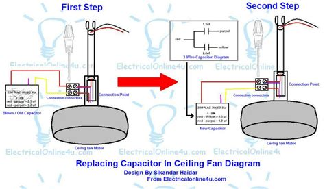 replacing a ceiling fan replacing capacitor in ceiling fan with diagrams