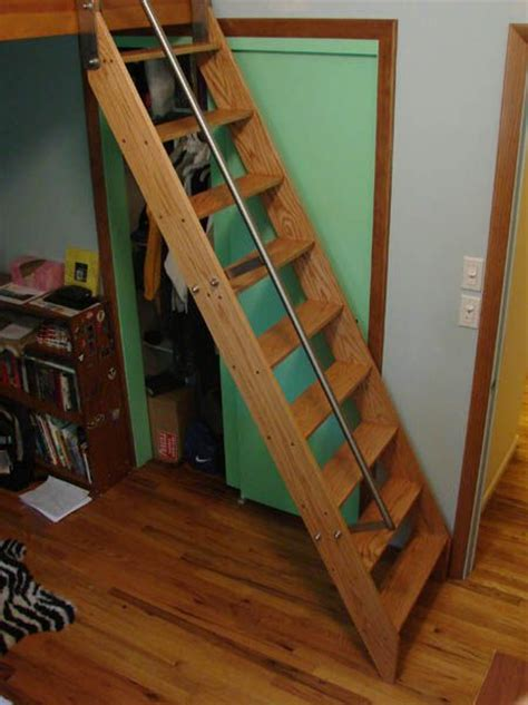 Attic Stairs With Handrails ship ladder with railing that levels at the top for hatchways or low ceilings attic rooms