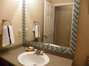 how to frame a bathroom mirror with mosaic tiles tile framed bathroom mirror tutorial home stuff