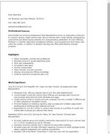 Resume Templates Sles by Professional Independent Sales Representative Templates To Showcase Your Talent Myperfectresume