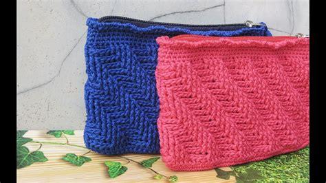Pattern Rajut | crochet tutorial dompet rajut motif garis miring