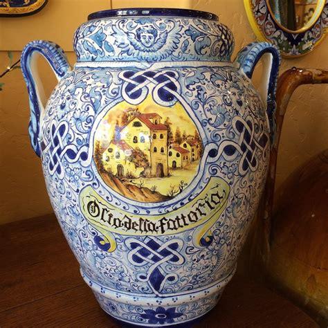 Handmade Italian Pottery - toscana umbrella stand olio della fattoria italian