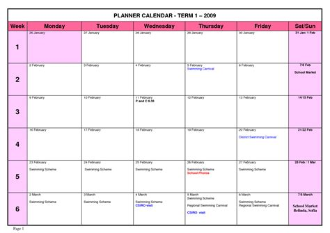 planning calendar template 7 best images of high school planners printable free