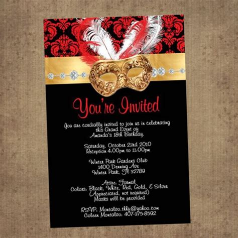 masquerade themed quinceanera invitations red black masquerade invitations nice pinterest