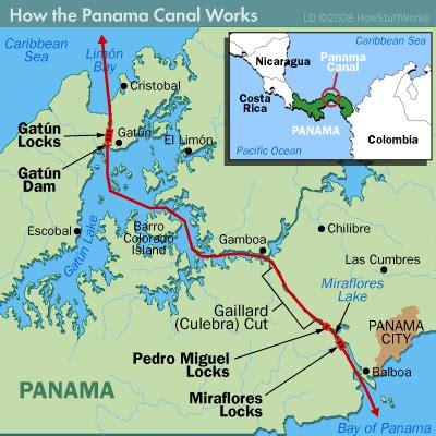 panama canal diagram map of panama canal where we went through three types of