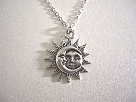 Kalung Fashion Sun Moon Pendant Simple Necklace Terlaris silver sun and moon pewter charm necklace gift for by jaspersdream
