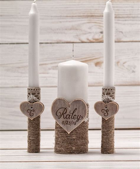 wedding unity candle set rustic unity candle church ceremony