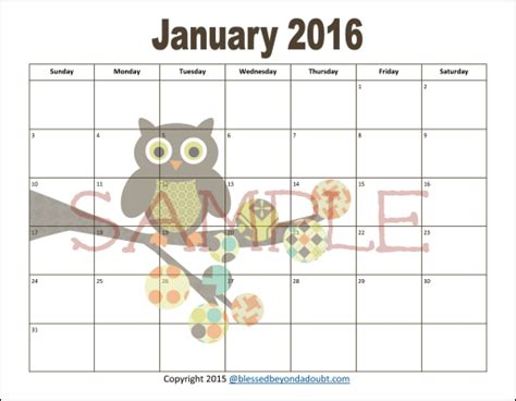 printable owl calendar 2016 search results for template calendar 2015 2017 page 2