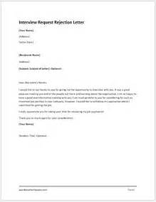Interview Request Rejection Letter Word Amp Excel Templates
