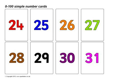 sparklebox printable number cards simple 0 100 number cards coloured numbers sb8923