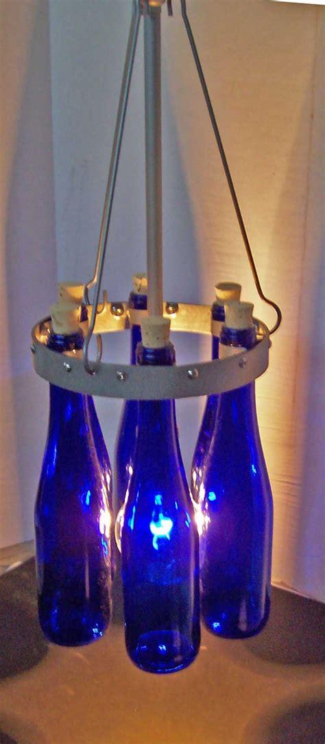 Blue Bottle Chandelier Blue Bottle Chandelier Items Similar To Wine Bottle