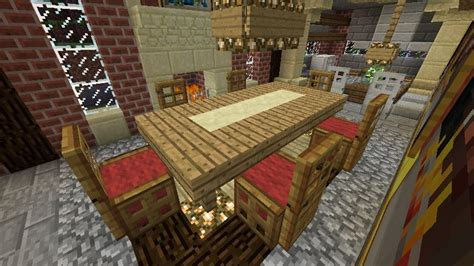 Minecraft Kitchen Furniture Minecraft Furniture Chairs And Table With Runner Wool Base Plus Trap Door Legs And A
