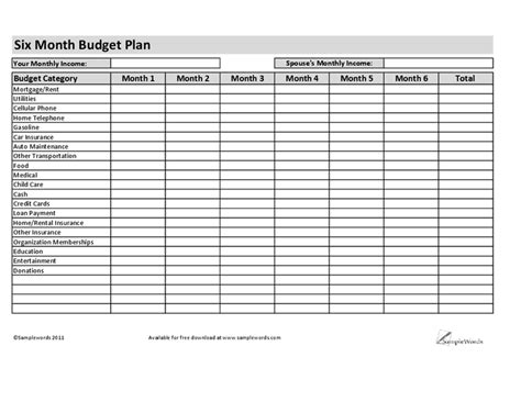 3 month plan template six month budget plan hashdoc