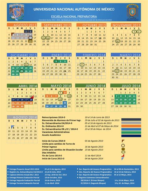 Calendario Escolar Unam 2015 16 Calendario 2015 Unam Calendar Template 2016