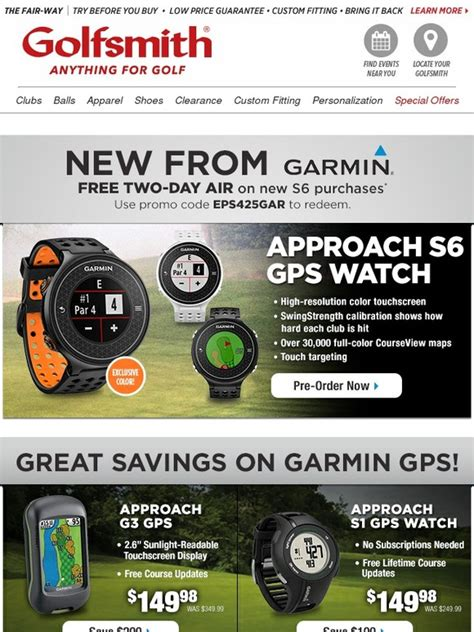Where Can I Use Golfsmith Gift Card - golfsmith new garmin approach s6 pre order today milled