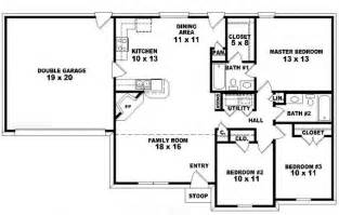 3 Bedroom 3 Bath Floor Plans by One Story Ranch Style House Plans One Story 3 Bedroom 2