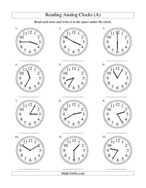 printable analog clock with minutes analogue clocks worksheets and free worksheets on pinterest