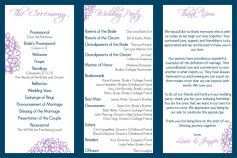wedding program trifold tale wedding