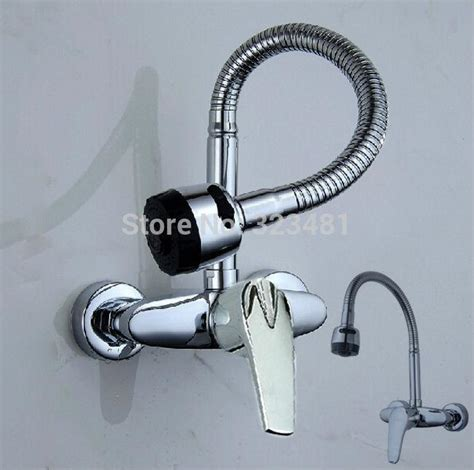 wall mount single handle kitchen faucet flexible faucet spout wall mounted kitchen faucet mixer