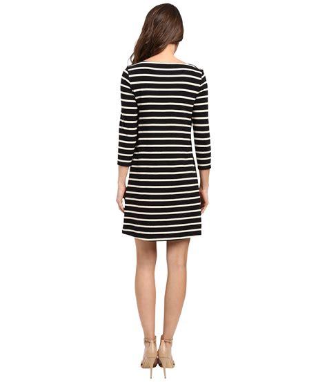 3 4 Sleeve Striped A Line Dress lilla p heavy stripe jersey 3 4 sleeve a line dress black