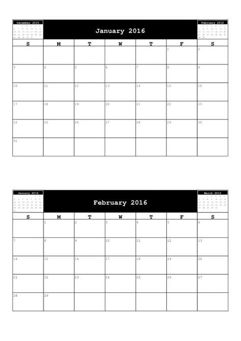 Calendar 2 Months Per Page 2 Month Per Page Calendar Free Calendar Template