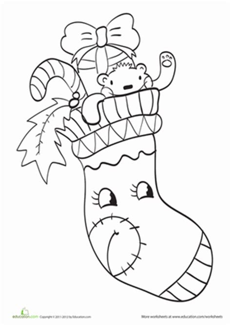 cute stocking coloring page christmas stocking worksheet education com