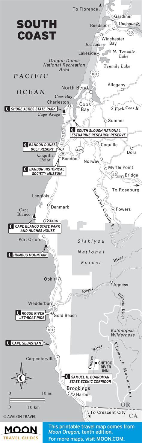 map of oregon coast yurts map of south coast of oregon