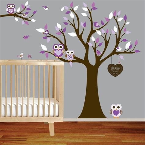 Owl Nursery Wall Decals Vinyl Wall Decal Stickers Owl Tree Set Nursery Baby Custom Lett