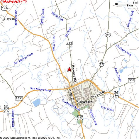 map of gonzales texas map to ki4u inc in gonzales tx