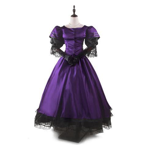 Cc Dress Black Purple s dress classic puff sleeve floor length dress purple and black