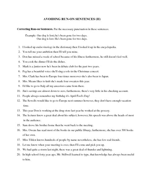 Run On Sentence Worksheet Answers by Comma Splice Worksheet With Answers Casademateo