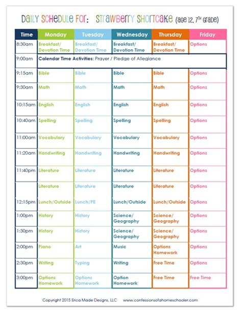 2015 7th Grade Homeschool Schedule   Confessions of a