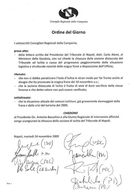 ordine giorno emergenza tribunale ischia all odg consiglio regionale