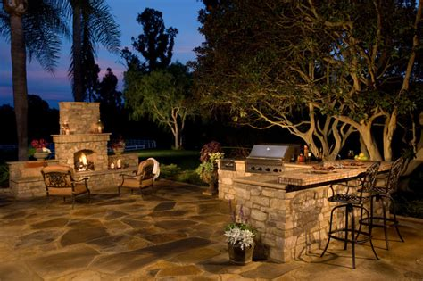eldorado outdoor fireplace rustic outdoor kitchen and fireplace traditional