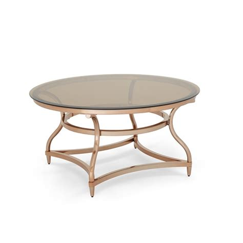 glass coffee table gold frame kelso coffee table in smoke glass with rose gold frame
