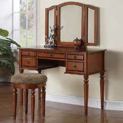 Makeup Vanity Table With Fold Mirror Tri Folding Mirror Walnut Wood Vanity Set Make Up Table