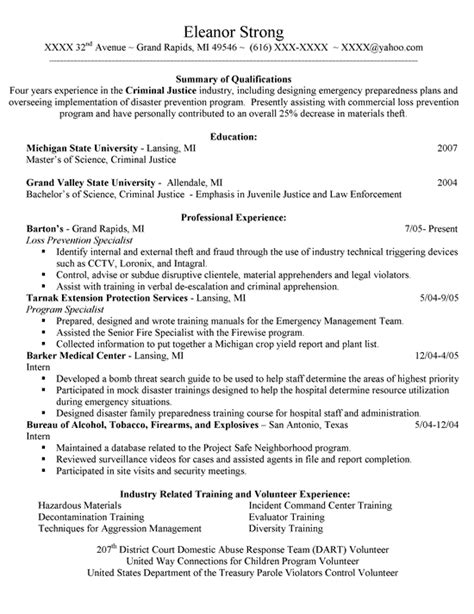 Criminal Justice Resume by Criminal Justice Resume Exle