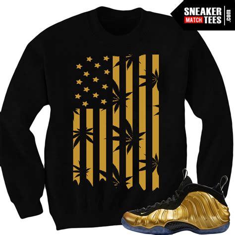 nike foamposite  gold matching sneaker tees shirts
