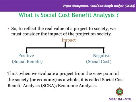 Cost Benefit Of An Mba by Social Cost Benefit Analysis