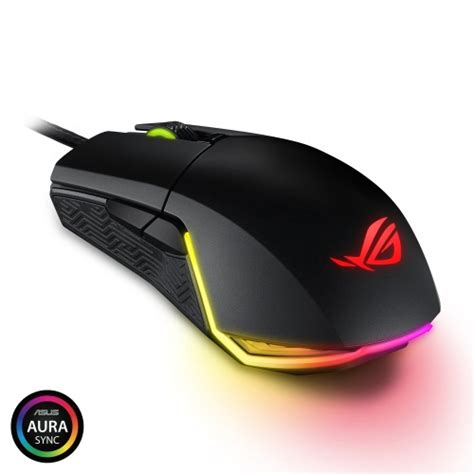 asus rog pugio aura rgb usb wired optical ergonomic ambidextrous gaming mouse asus official