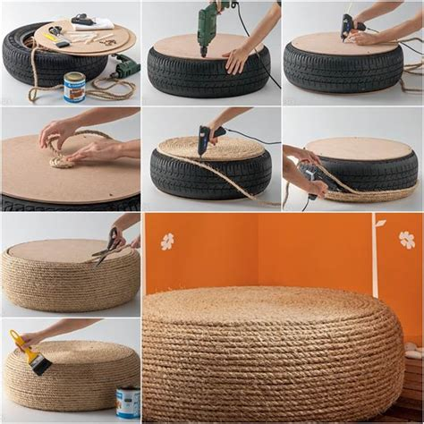 ottomane umbauen how to diy rope ottoman from tire