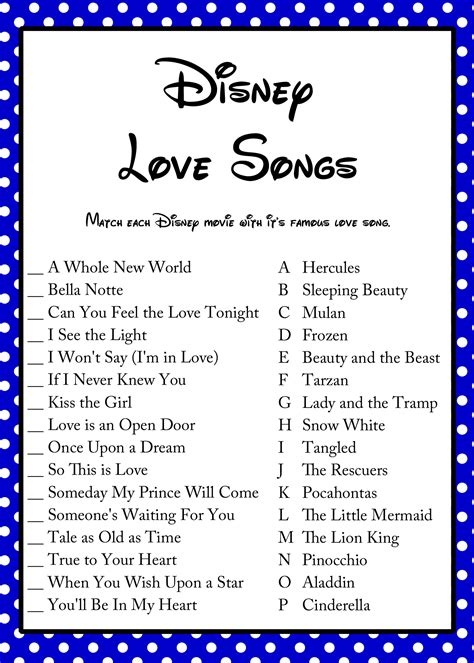 disney songs free disney love song bridal shower game bridal shower